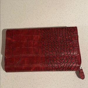 Handbags - Red Crocodile Skin (Faux) Wallet